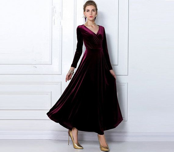 Burgundy red Velvet Dress Long Party Formal Evening by LYDRESS ...