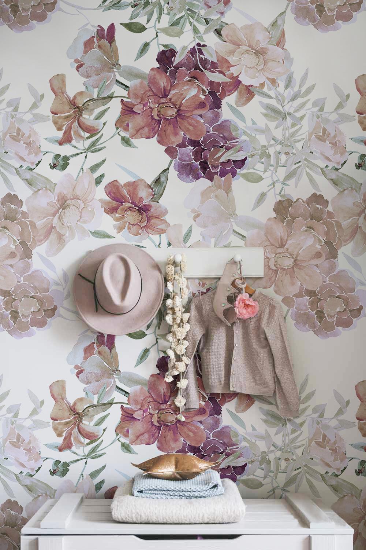 Romantic Flowers Removable Wallpaper Peel Stick Wallpaper