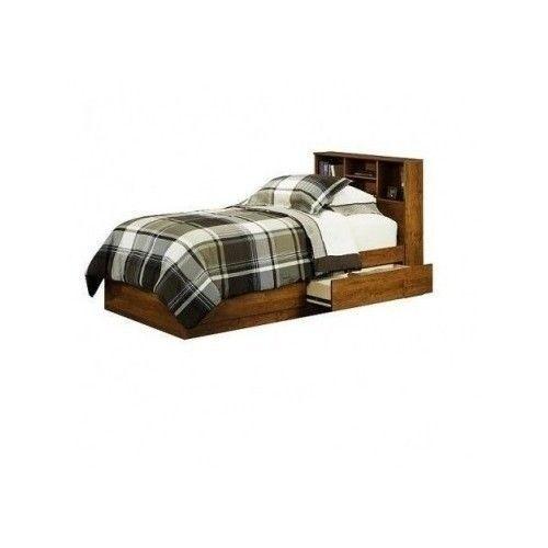 Twin Storage Bed Frame Platform Drawers Wood Headboard Shelves Bedroom Furniture