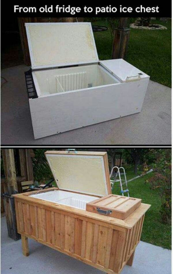 Outdoor cooler out of old fridge