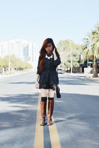 63d8163e1b Look de moda  Vestido Skater a Lunares Negro y Blanco