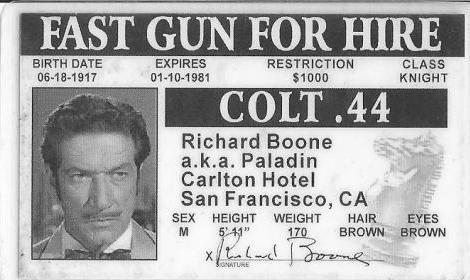 Paladin's Driver's License