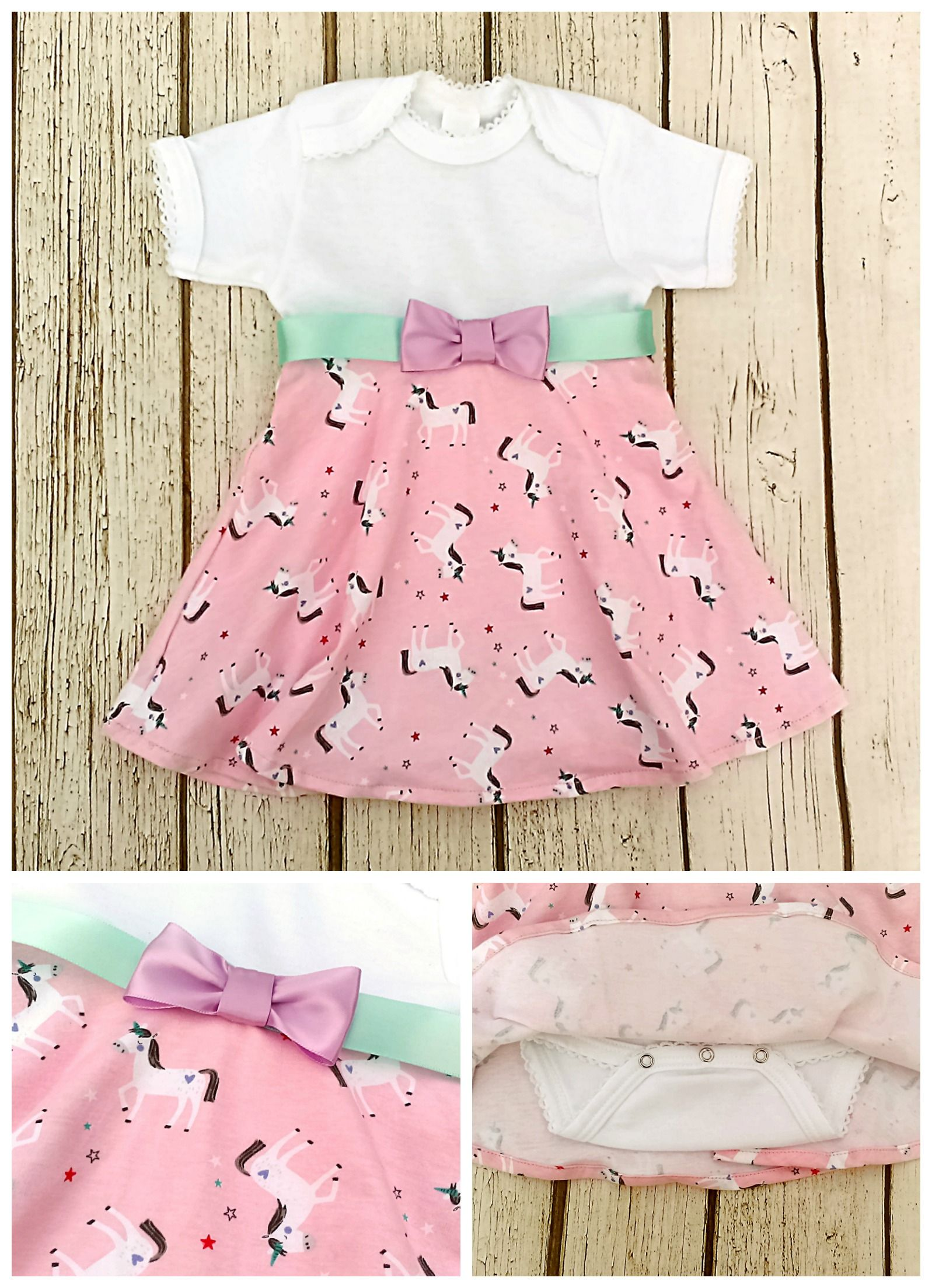 4a67490aa927 Unicorn baby dress: Whimsical outfit for a fairy tale first birthday party!