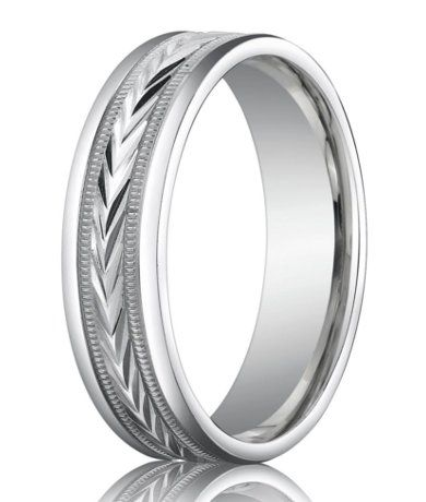 Carved Center Men's Designer 14K White Gold Wedding Ring | 6mm