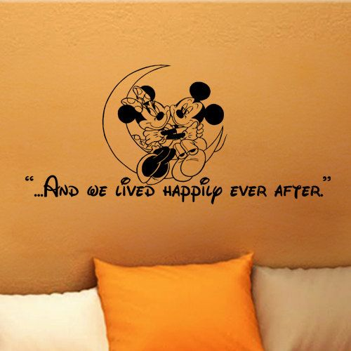 Mickey Mouse Minnie Mouse And We Lived Happily Ever After Wall Quote Vinyl  Wall Art Decal