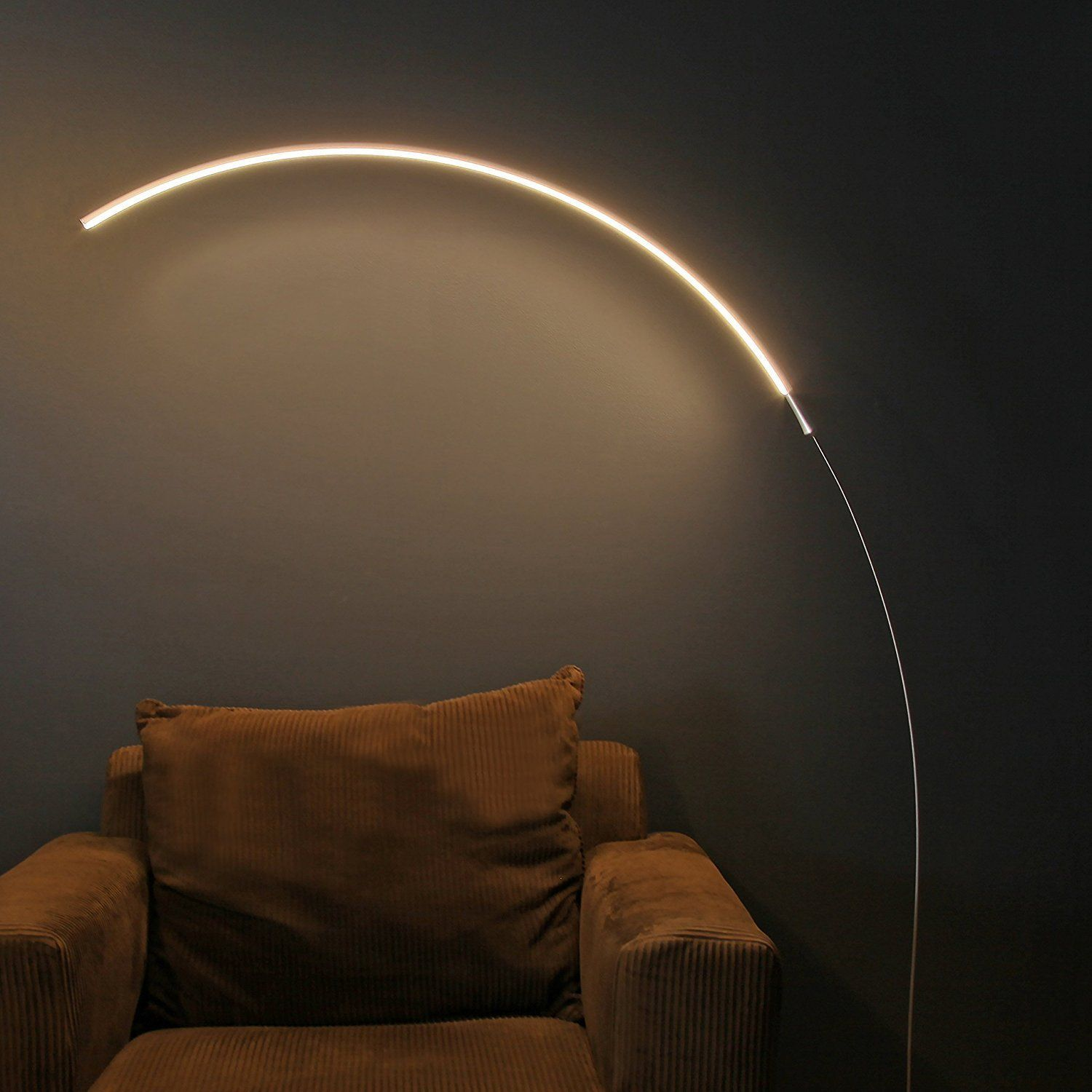 Superior Brightech   Sparq LED Arc Floor Lamp   Curved, Contemporary Minimalist  Lighting Design   Warm White Light   Silver     Amazon.com
