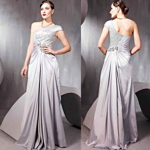 Silver Sequin Grey Gray One Shoulder Ball Gown Evening
