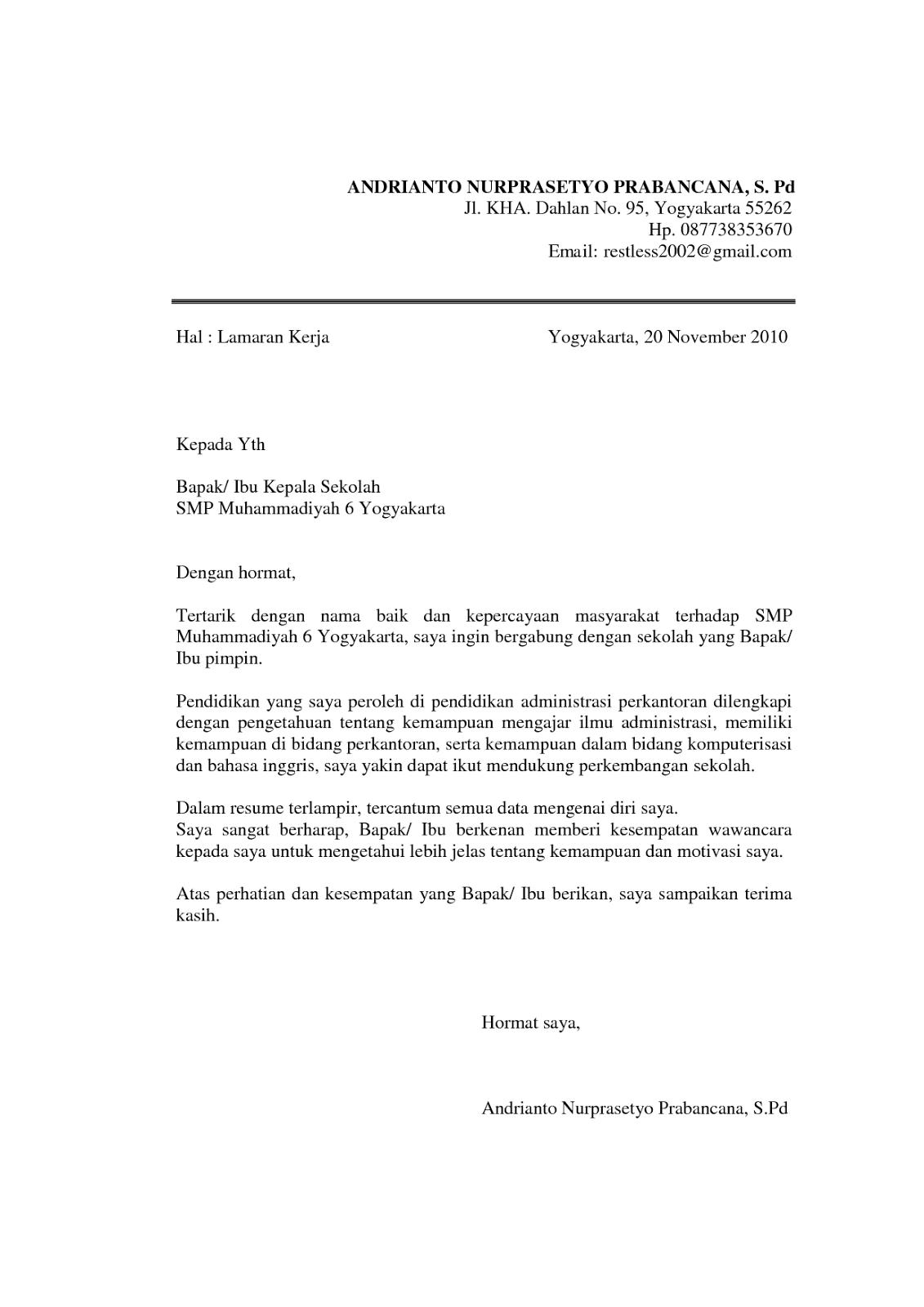 Contoh Surat Lamaran Kerja Staff Administrasi Kus