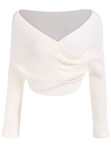 Boat Neck Wraped White Sweater | Theatrical romantic kibbe ...