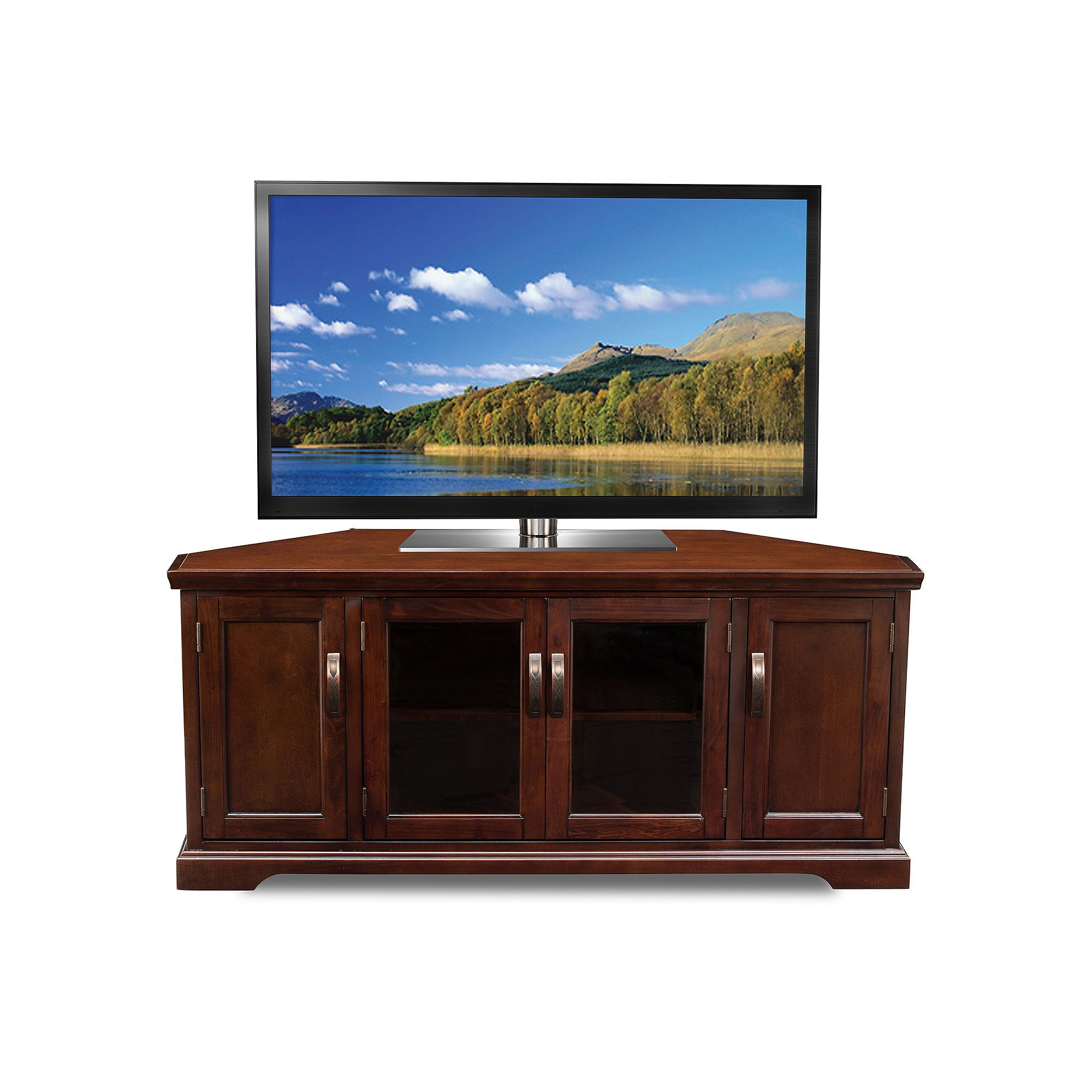 Leick Furniture Cabinet Corner TV Stand, Brown