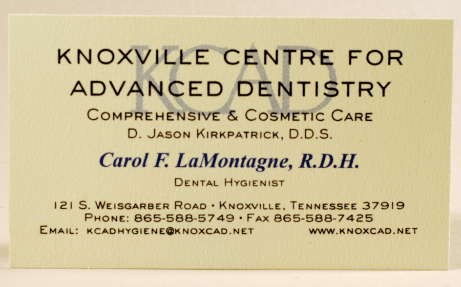 Raised Ink Business Card Two Color Thermography Printed On Cardstock Designed And Printed By Larry B Newman Printing Company Business Cards Cards Dentistry