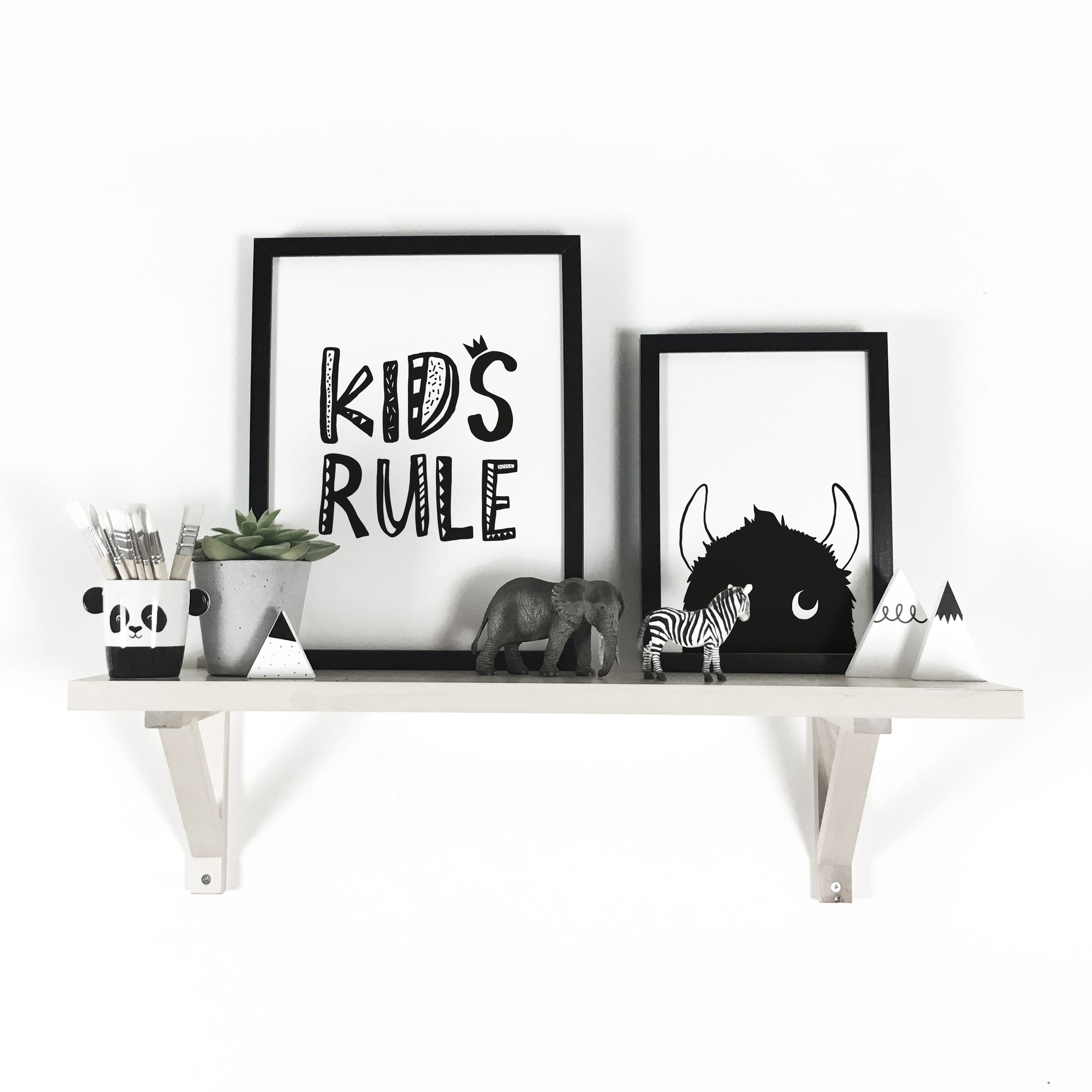 Nursery Monochrome Prints On An Ikea Shelf Kids Rule And