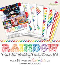 Rainbow Birthday Party Printable Decor Kit (Digital File)