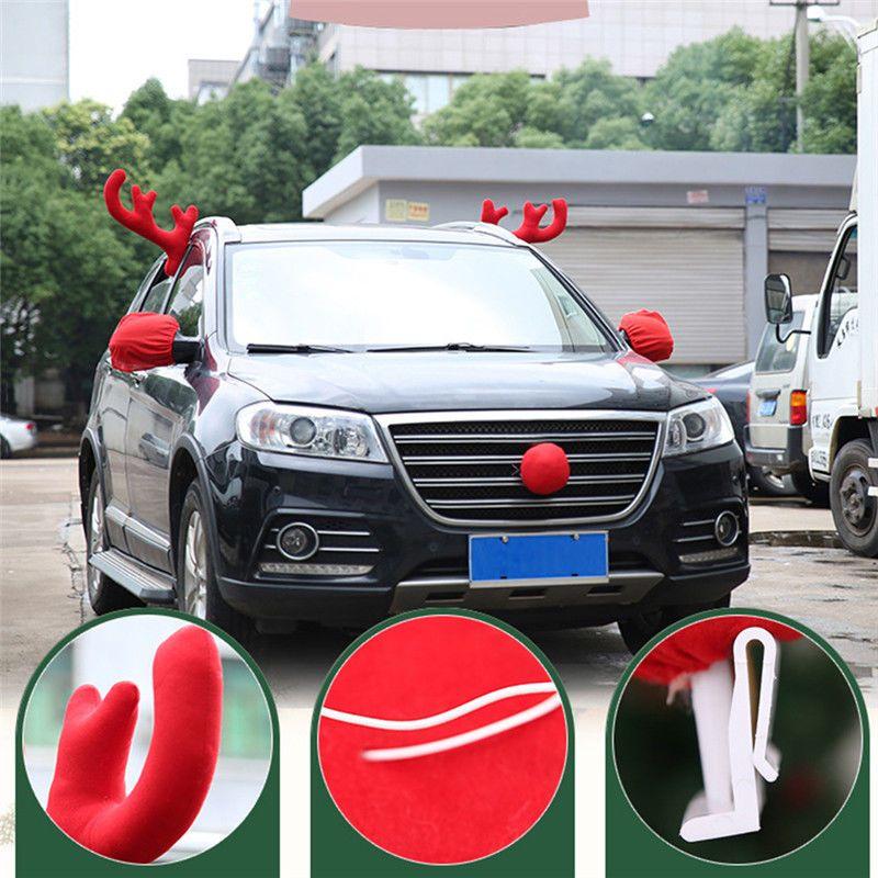 Reindeer Antlers Nose Car Vehicle