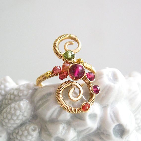 Gemstone Spiral Ring, Gold Filled Double Scroll Ring