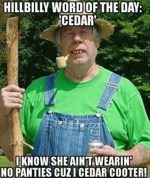 Hillbilly Word Of The Day Cedar I Know She Aint Wearin No Panties Cuz I Cedar Cooter