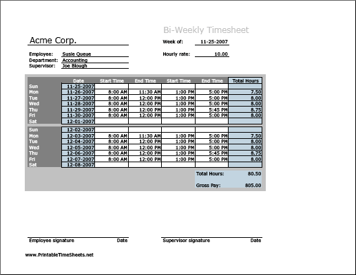 Biweekly Timesheet Horizontal Orientation Printable Time Sheets