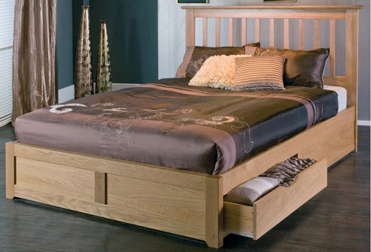A highly classic wooden bed having an ample storage space below