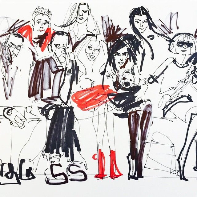 by Donald Robertson (Puffy, Jay-Z, Beyonce, Kim Kardashian, North West, and Anna Wintour)