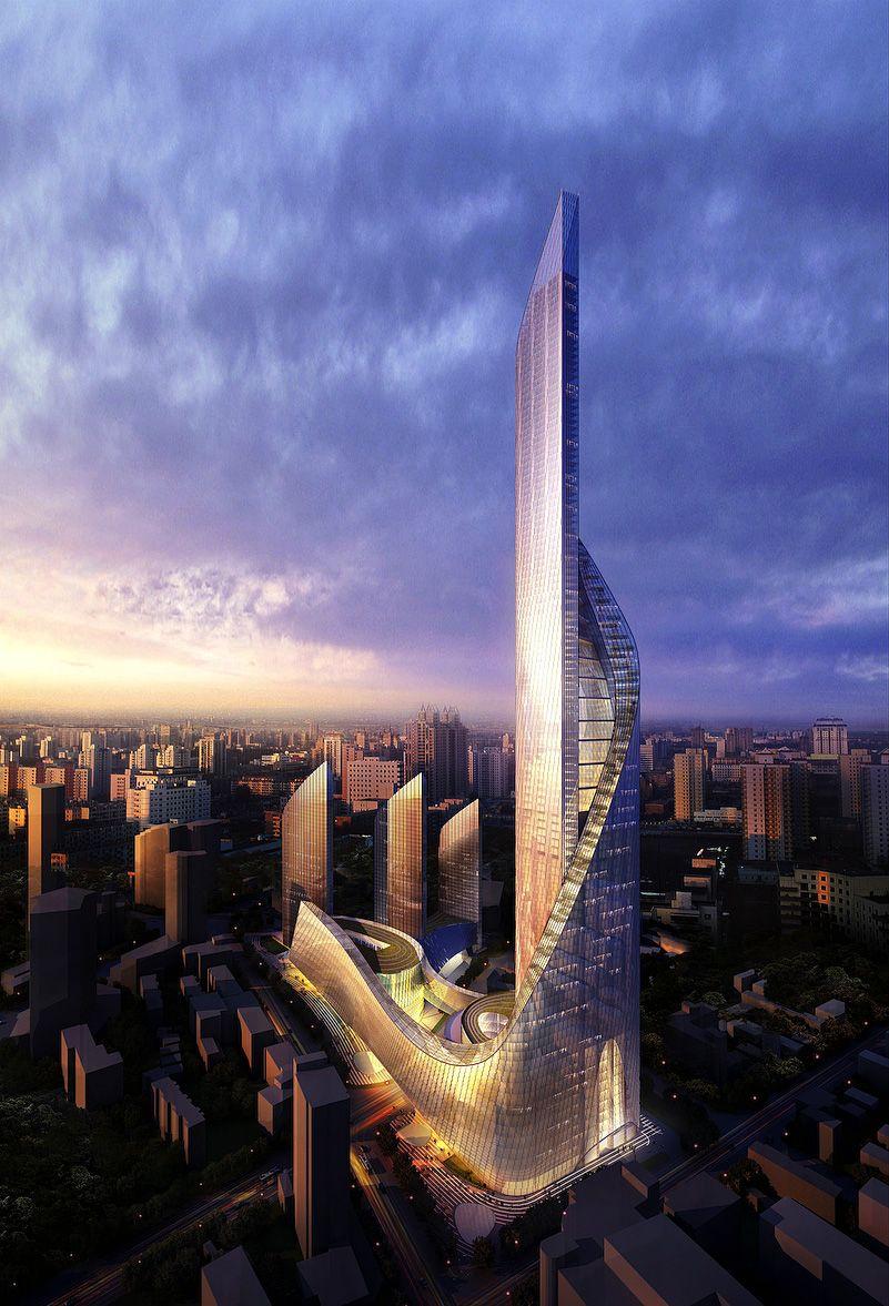 Nanjing Suning Tower - China Aedas High Rise Exterior Architecture Futuristic