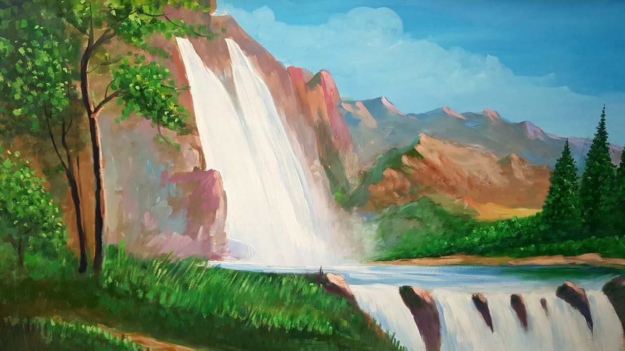 Poster Colour Painting Of Huge Mountains Landscape Painting Art Canvas Mountain Landscape Painting Poster Color Painting Landscape Paintings