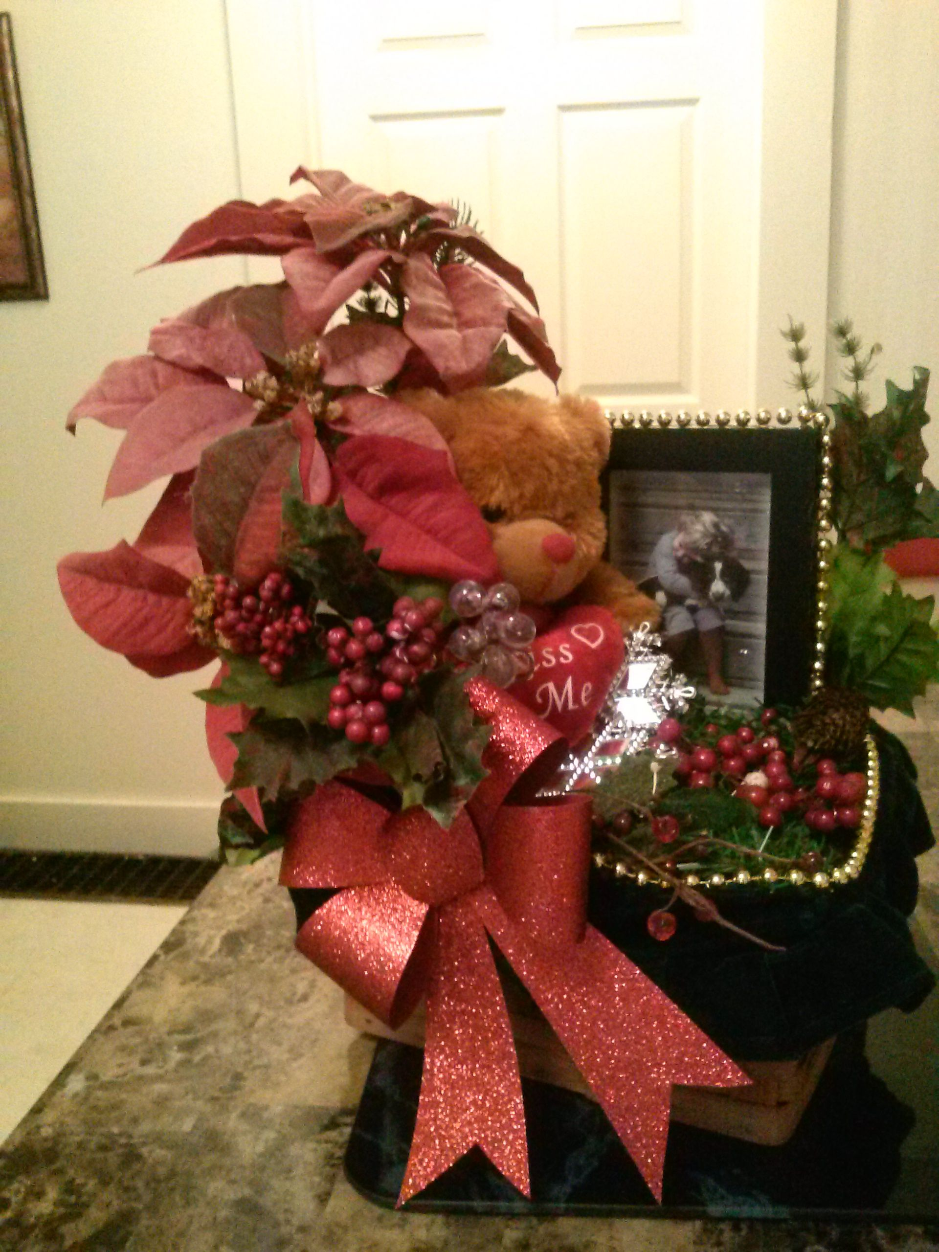 Poinsettia with teddy bear with picture frame just add picture.