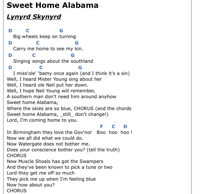 Lyric maroon five love somebody lyrics : Chords - Sweet Home Alabama | Guitar | Pinterest | Alabama ...