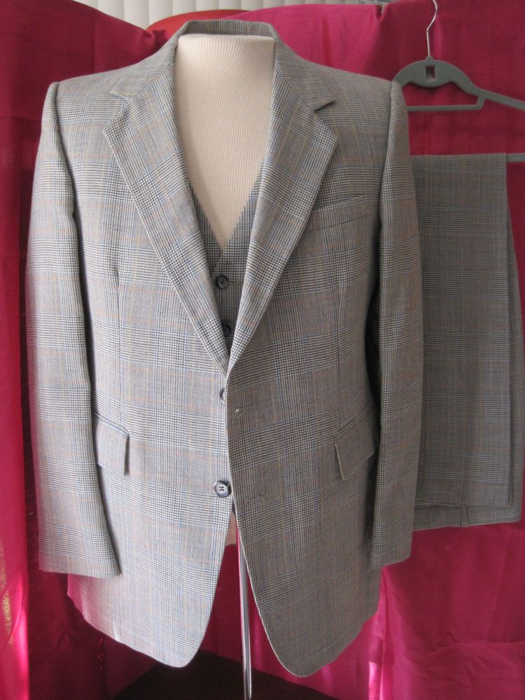 953c1bc84 60s 70s vintage wool plaid PIERRE CARDIN 3-piece suit 38/40 - SUPERFLY  FUNKY MOD #madmen