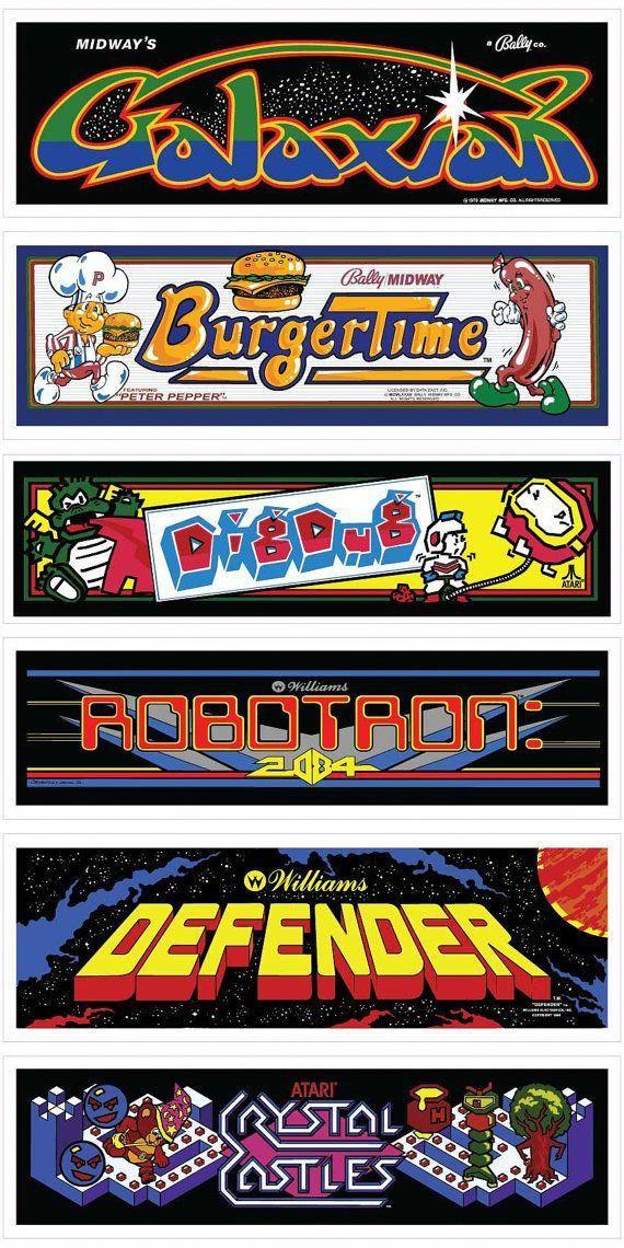 Classic Arcade Marquees Wall Art 6 Packs By Mancade On Etsy Xboxroom Retro Arcade Games Retro Arcade Retro Games Room