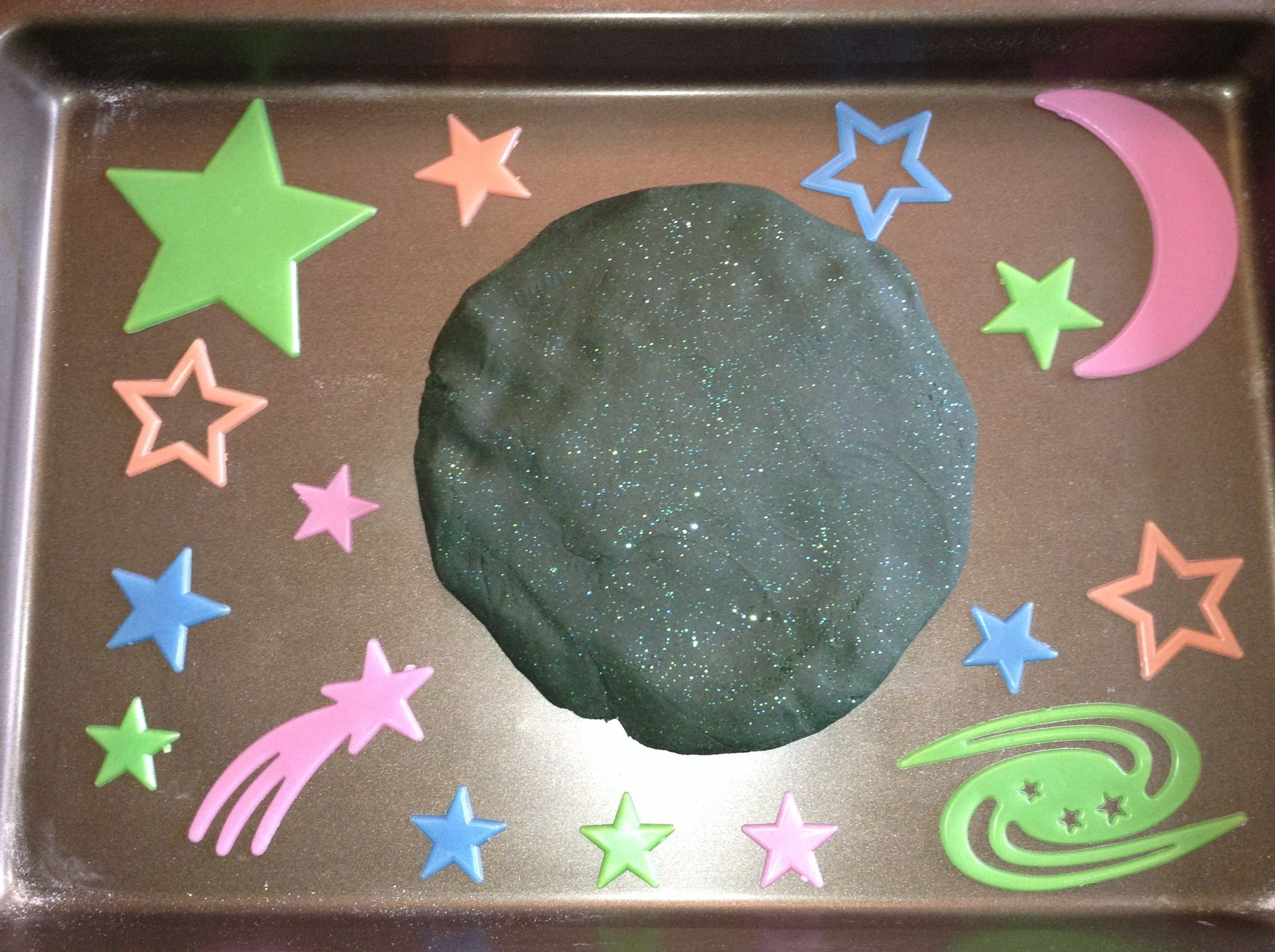 Our outer space play dough made from the recipe on http for What is outer space made of