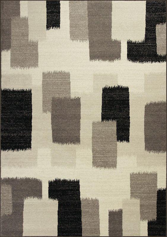 "KAS Rugs Reflections 7413 Black & White Palette Machine-Made 100% Polypropelene Frisee Yarn 2'7"" x 4'11"""