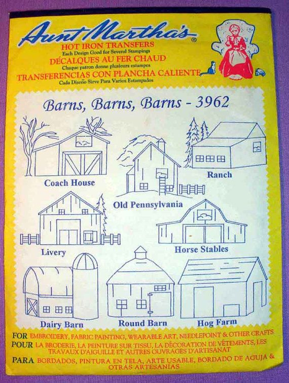 Aunt Martha\'s Barns Hot Iron Transfer Pattern 3962 for Embroidery ...