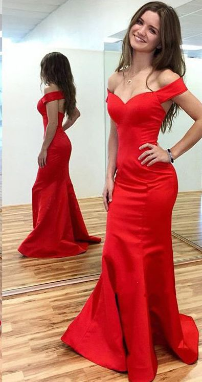 Red Real Made Mermaid Charming Prom Dresseslong Evening Dresses