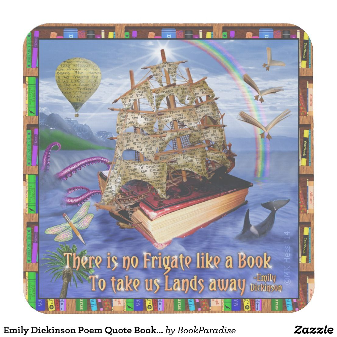Emily Dickinson Poem Quote Book Ship Ocean Scene Paper Coasters For  Bookworms | Christmas Gift Idea