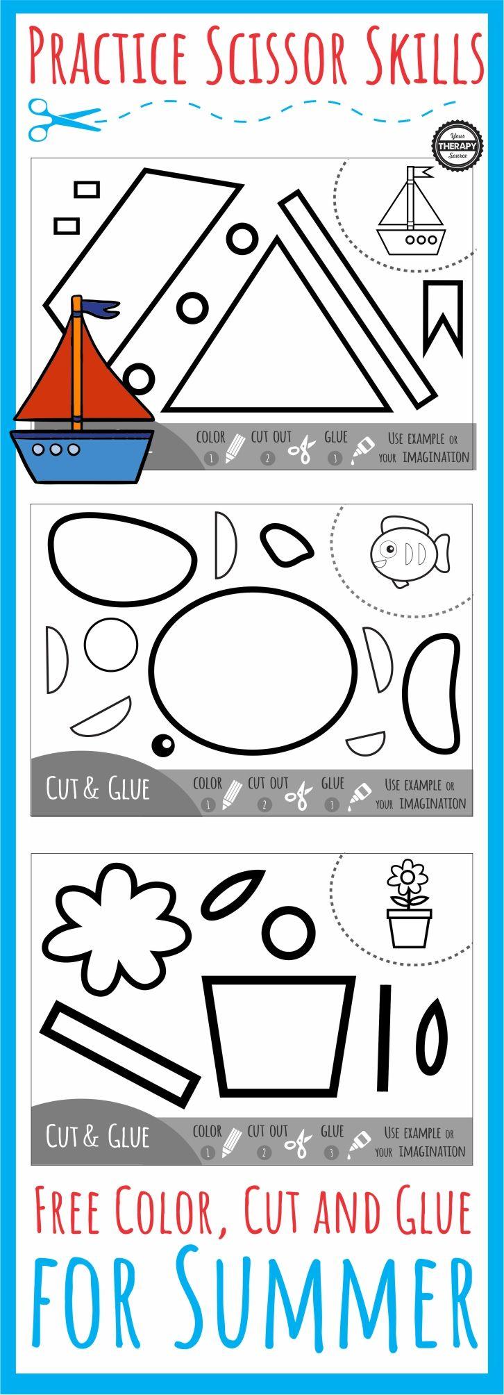 Color Cut Glue Scissor Summer Practice