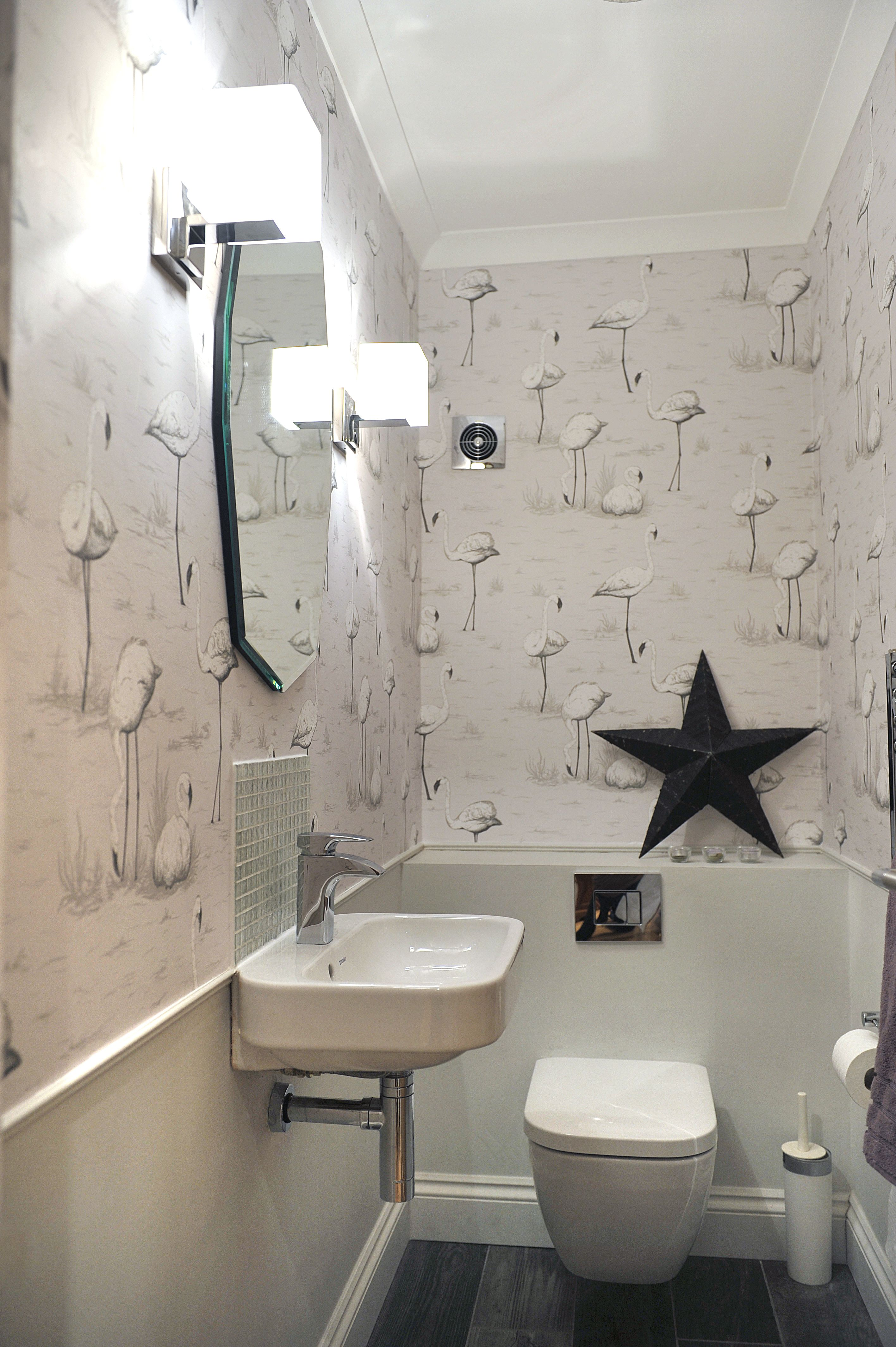 Downstairs Loo French Grey Contemporary Room Cole Son Flamingo Wallpaper