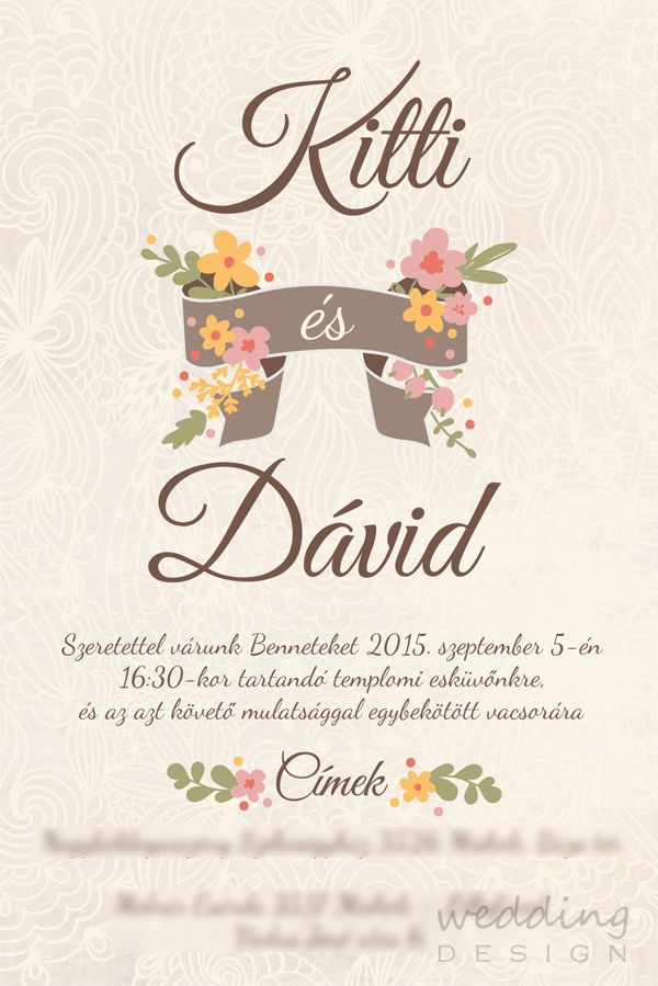 Vintage wedding invitation card - Vintage esküvői meghívó Graphic ...