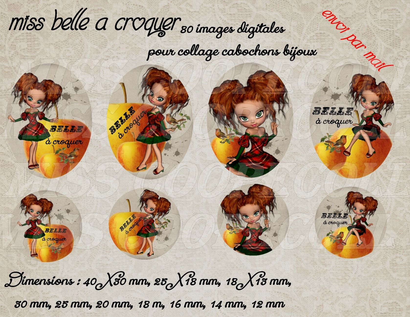 """NOUVEAU 80 images pour collage digital cabochons bijoux 'Miss belle à croquer"""" envoi par mail : Loisirs créatifs, scrapbooking par miss-coopecoll"""