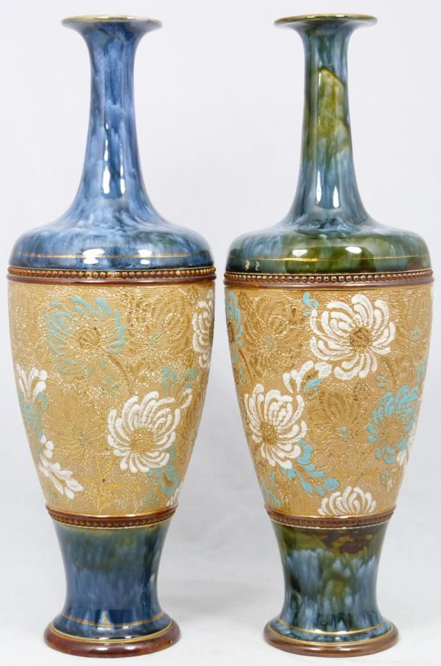 Royal Doulton Chine Gilt Vases Each Has Slaters Patent Impressed
