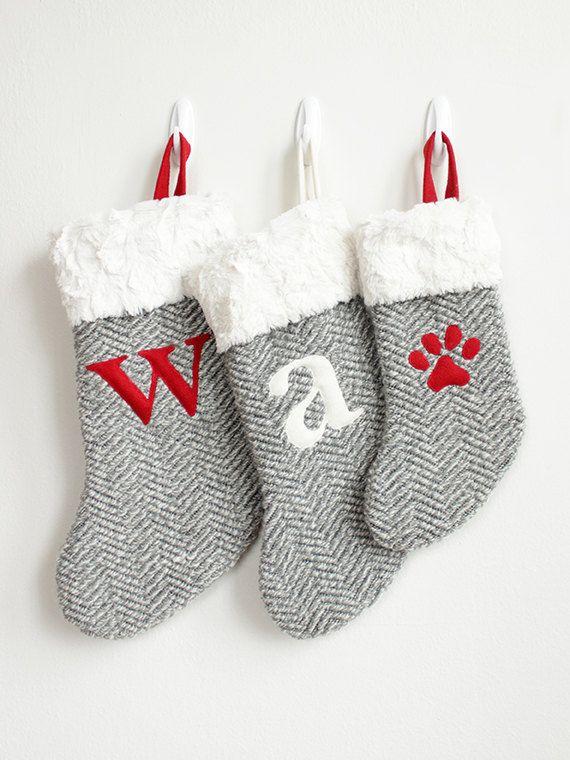 Personalized Christmas Stockings | Faux Fur & Gray Herringbone Pet ...