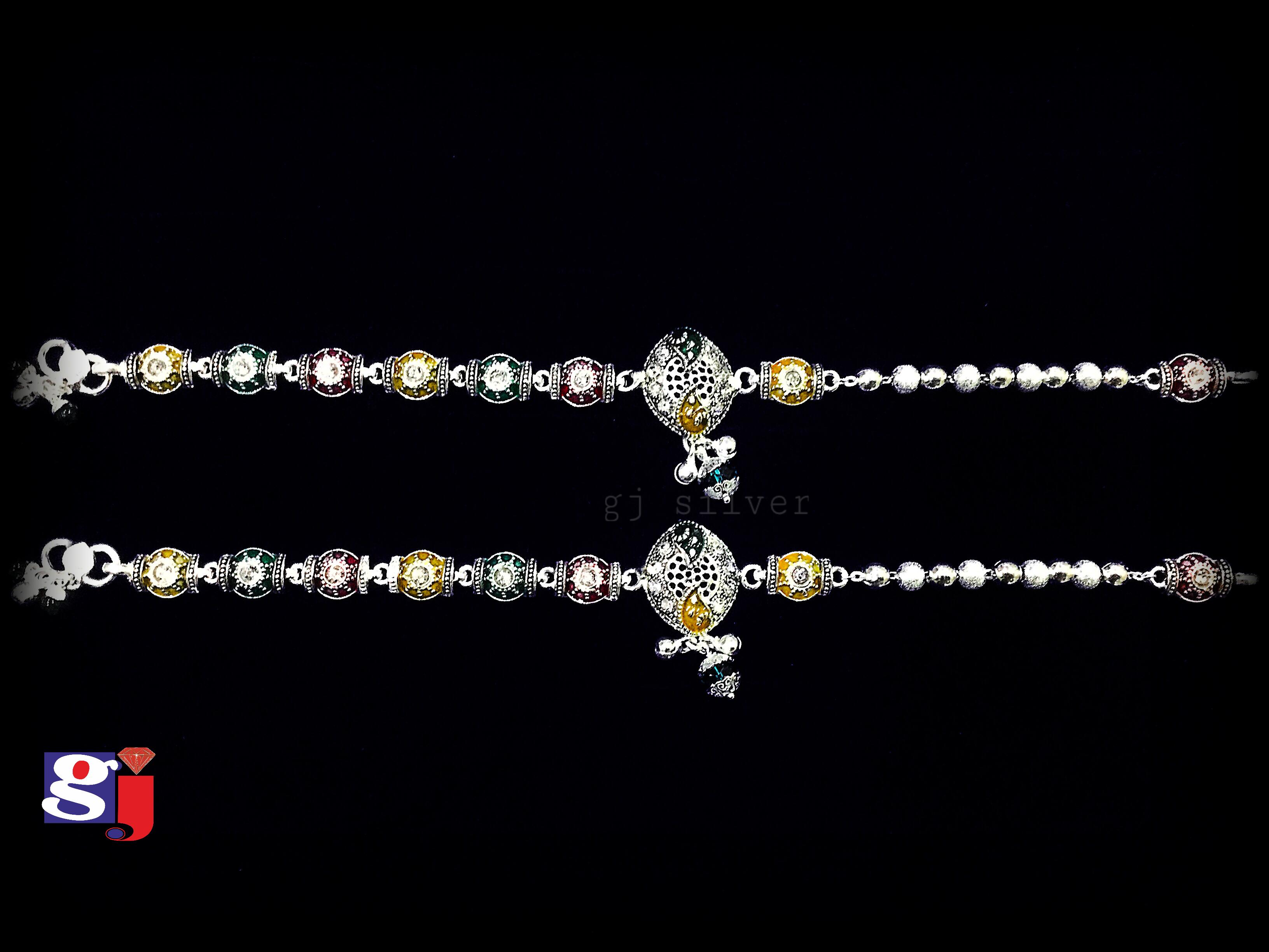 Latest trends , designer pair of anklets , Meenakari work silver ...
