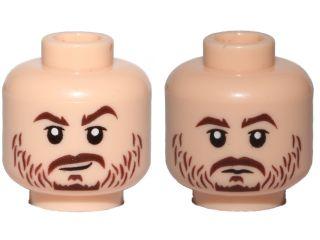 LEGO NEW FLESH MINIFIGURE HEAD WITH BEARD AND WHITE TEETH ANGRY FACE