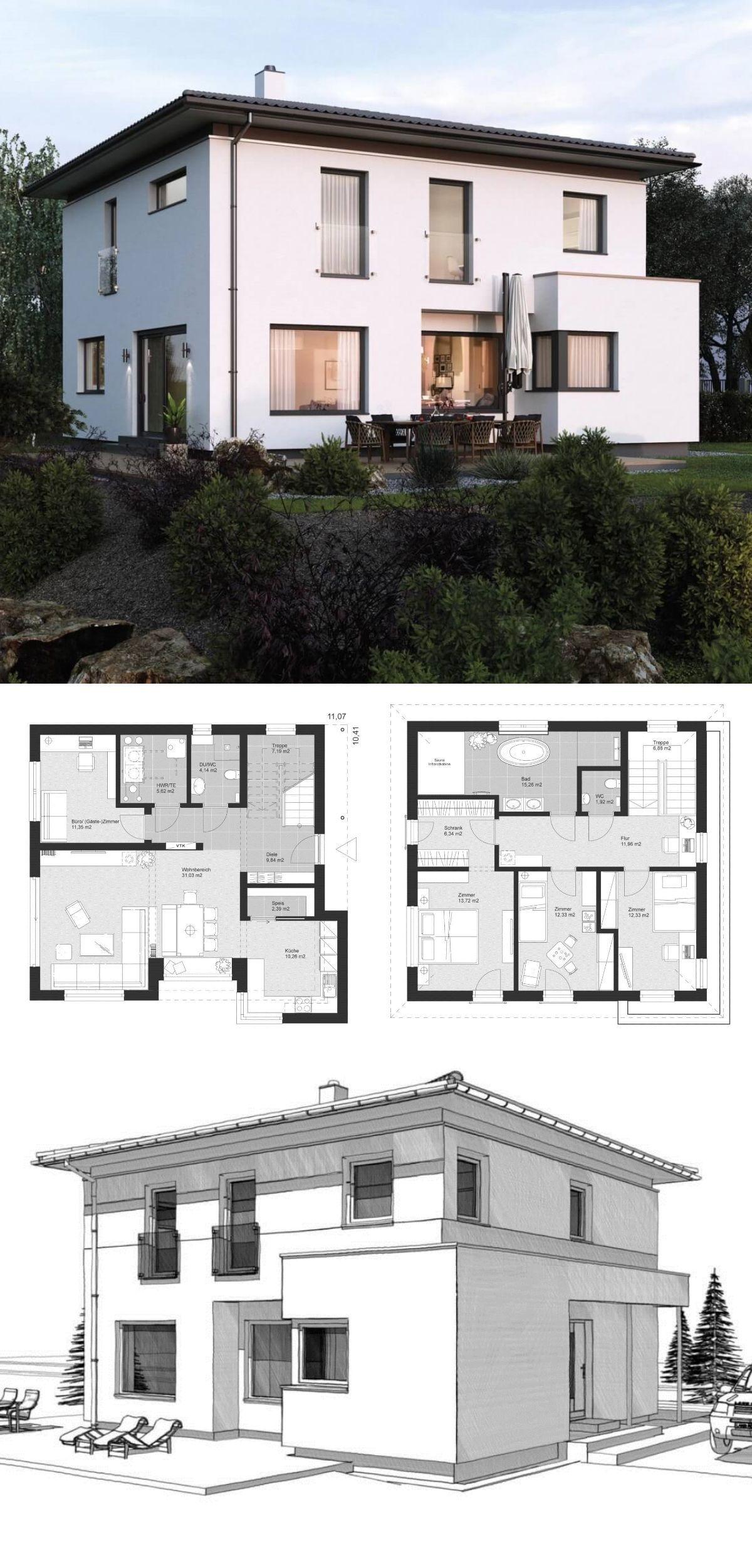 Stadtvilla Neubau modern mit Walmdach Architektur & Erker
