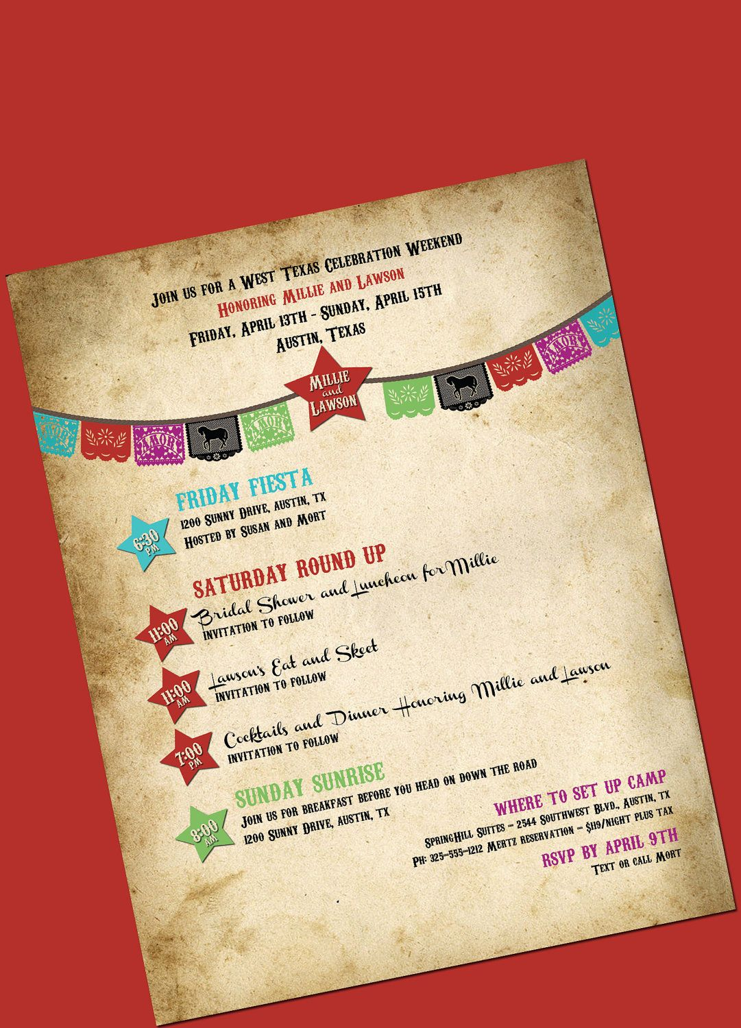 Western Wedding Weekend Itinerary Cowboy and Cowgirl - DIY printable ...