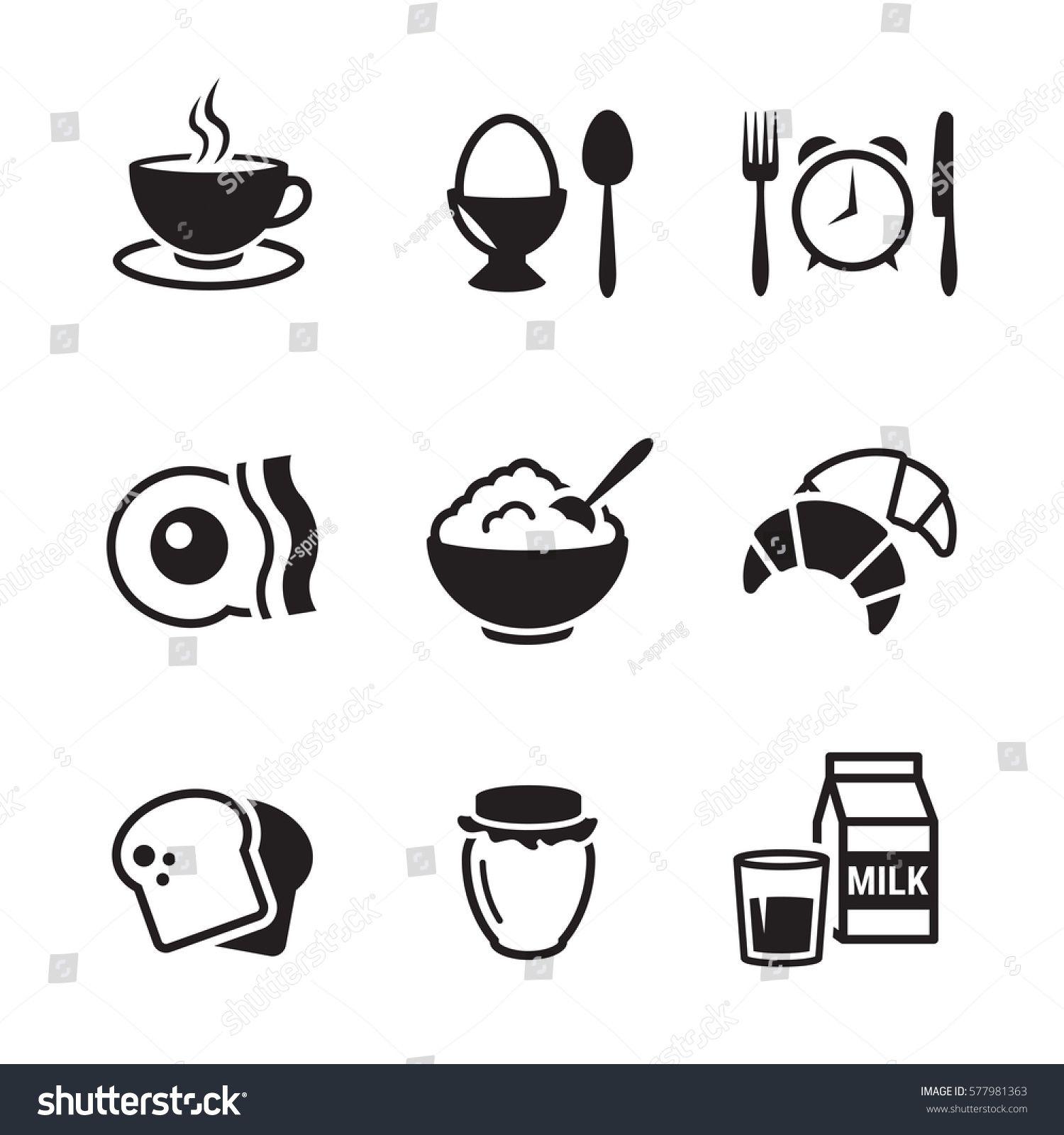 Breakfast Icons Set Black On A White Background Ad Affiliate Set Icons Breakfast Background Wedding Vector Icons Icon Set White Stock Image