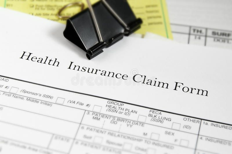 Medical bills. Health insurance claim form and medical