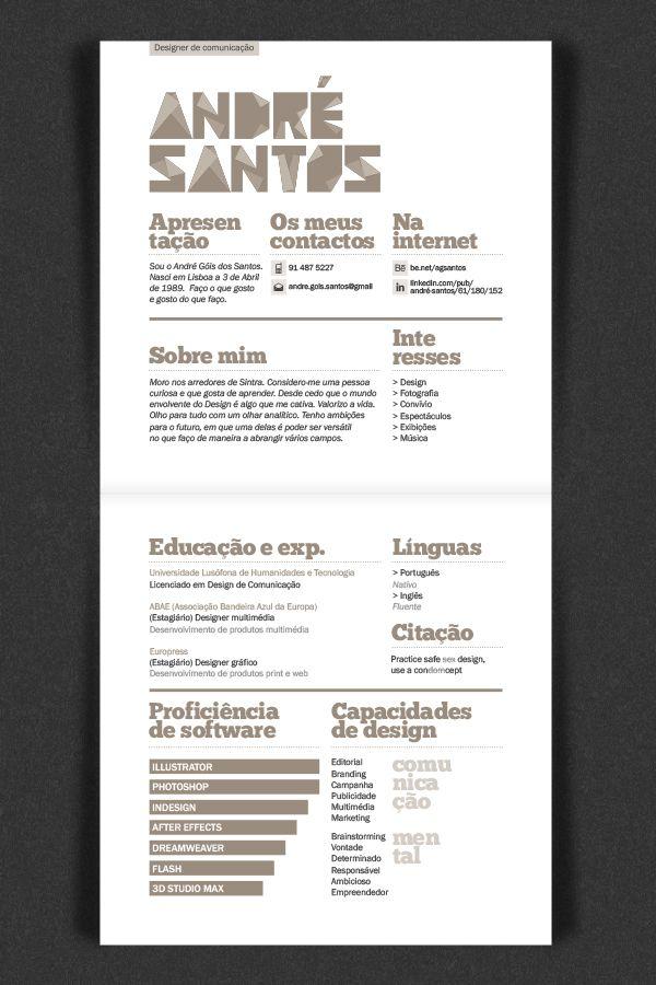 curriculum vitae by andr santos via behance