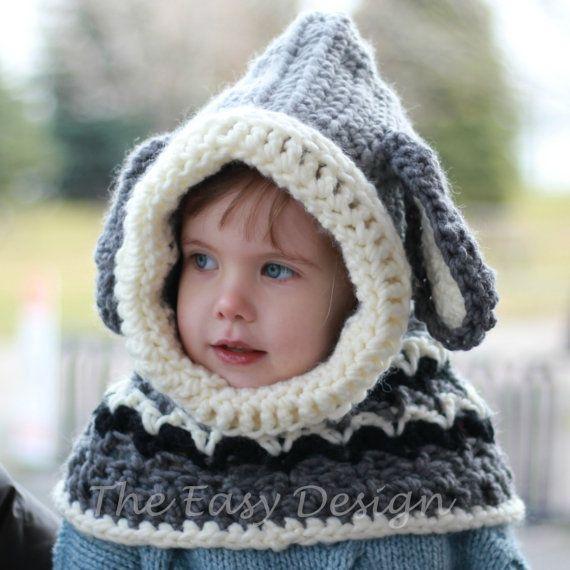 Crochet pattern, Patron de crochet –Dean Dog Hooded Cowl Hood Hat ...