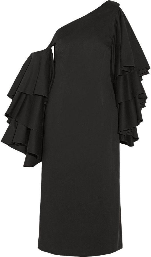 5212622751959 Rosie Assoulin Bidi Bidi Bom Bom Convertible One-Shoulder Ruffled  Cotton-Twill Dress