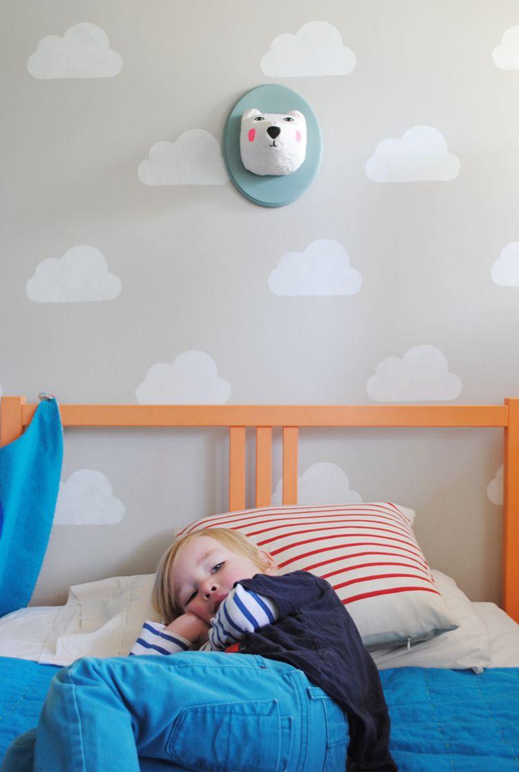 Wall painting stencils kids rooms mermag cloud room with handmade charlotte stencil  kids rooms